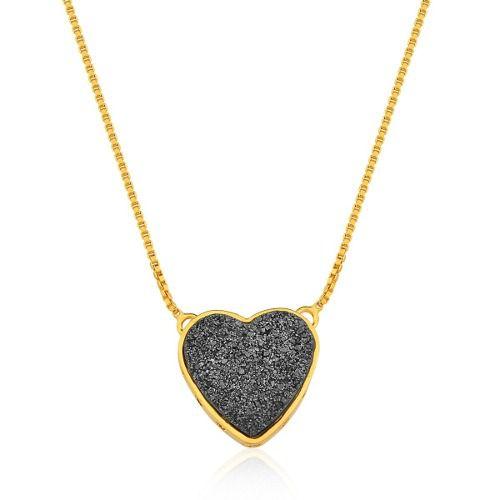 Colar Le Diamond Coração Druza Preto
