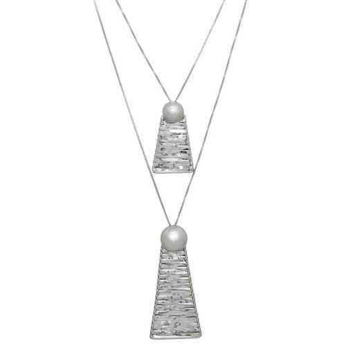 Colar Le Diamond Duplo Piramides Prata