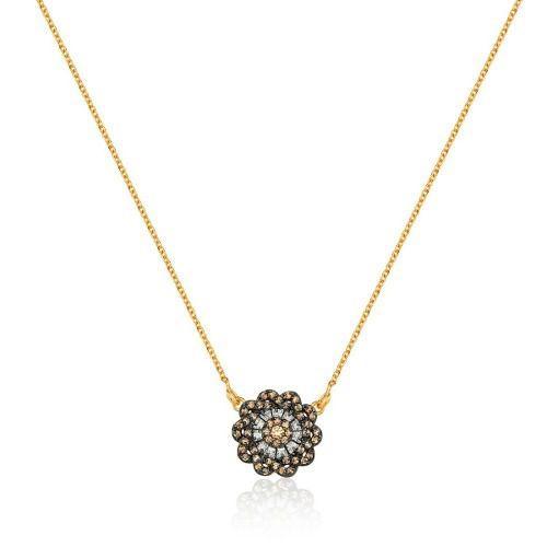 Colar Le Diamond Flor Marrom