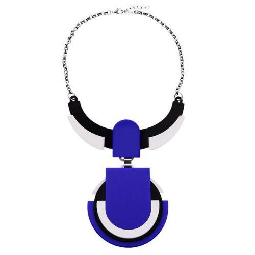 Colar Le Diamond Geométrico Acrílico Azul