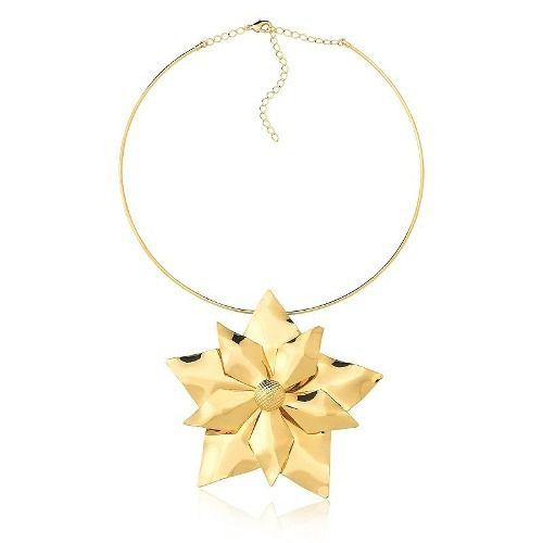 Colar Le Diamond Flor Grande Dourado