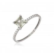 Anel Le Diamond Pedra Cristal com Zircônia
