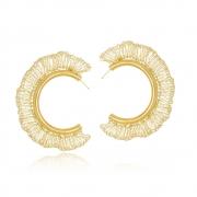 Argola Le Diamond Croche em Fios de Ouro