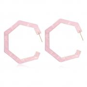 Brinco Argola Le Diamond Forma Geométrica Rosa