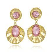 Brinco Le Diamond Concha Com Cristal Rosa