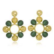 Brinco Le Diamond Esferas de Fio de seda Verde