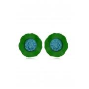 Brinco Le Diamond Flor de Acrílico Verde