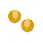 Brinco Le Diamond Oceano Concha Esmaltada Amarelo