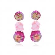Brinco Le Diamond Paetê com Pingente Confete Pink