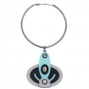 Colar Le Diamond Aro Com Pingente Oval De Acrílico Azul
