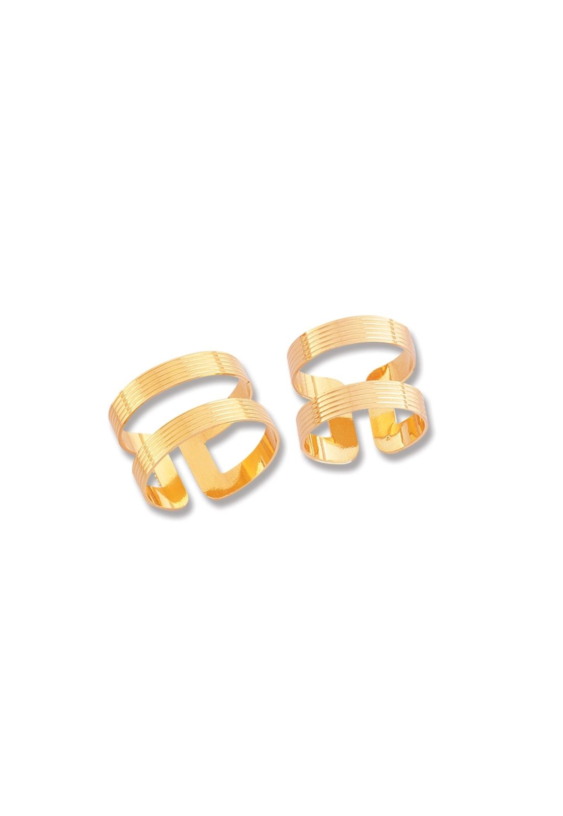 Anel Le Diamond Chapa Aro Duplo Dourado