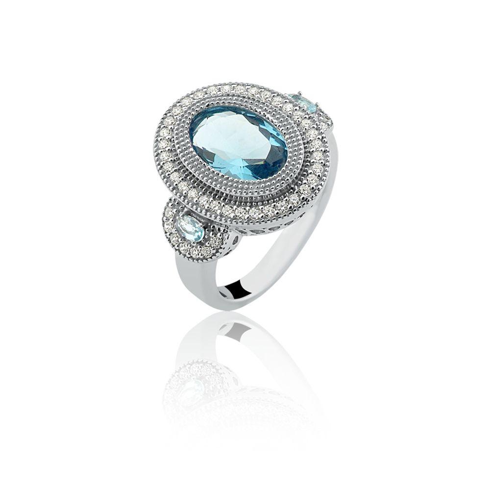 Anel Le Diamond Com Zircônias E Cristais Azul Celeste
