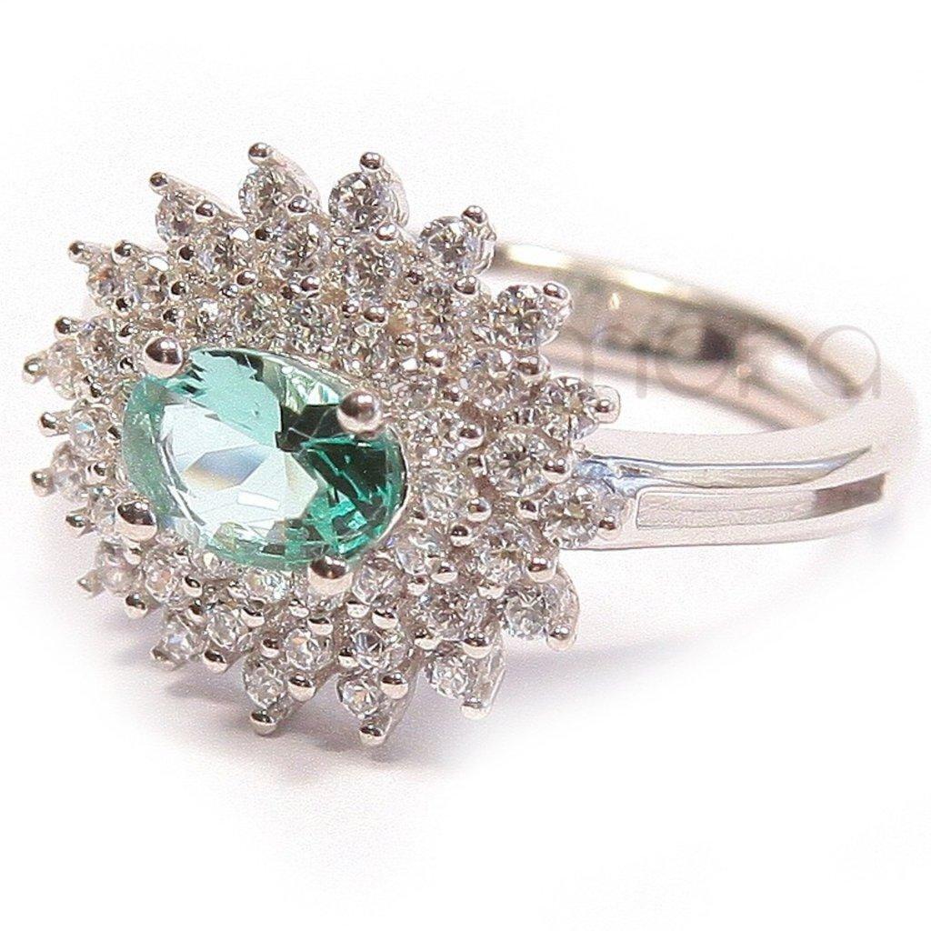 Anel Le Diamond com Zircônias e Cristais Verde Agua