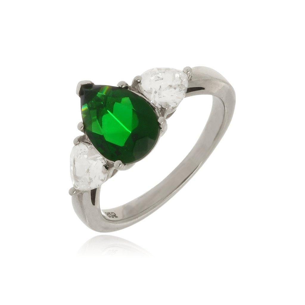 Anel Le Diamond em Prata 925 com Esmeralda