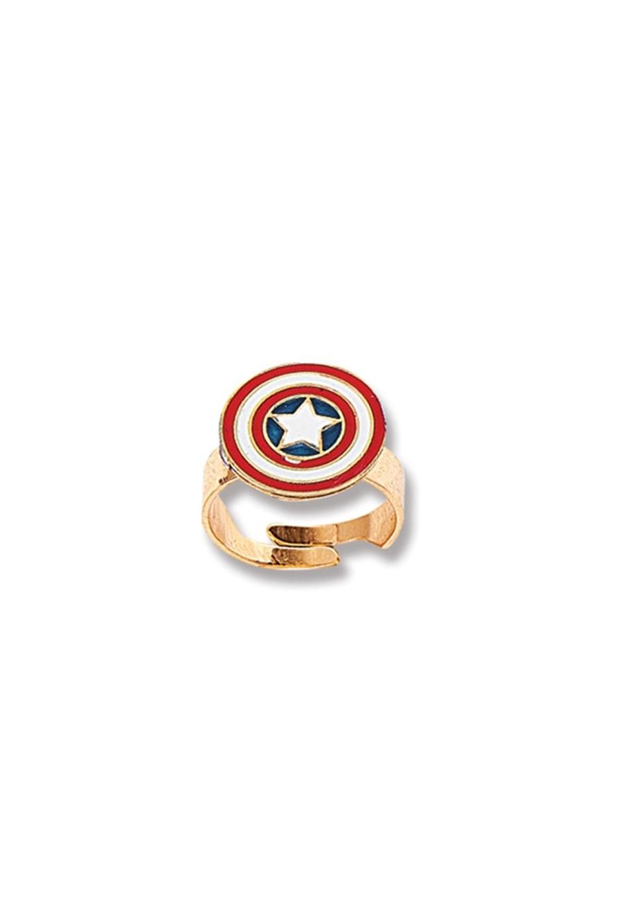 Anel Le Diamond Infantil Capitão América Dourado