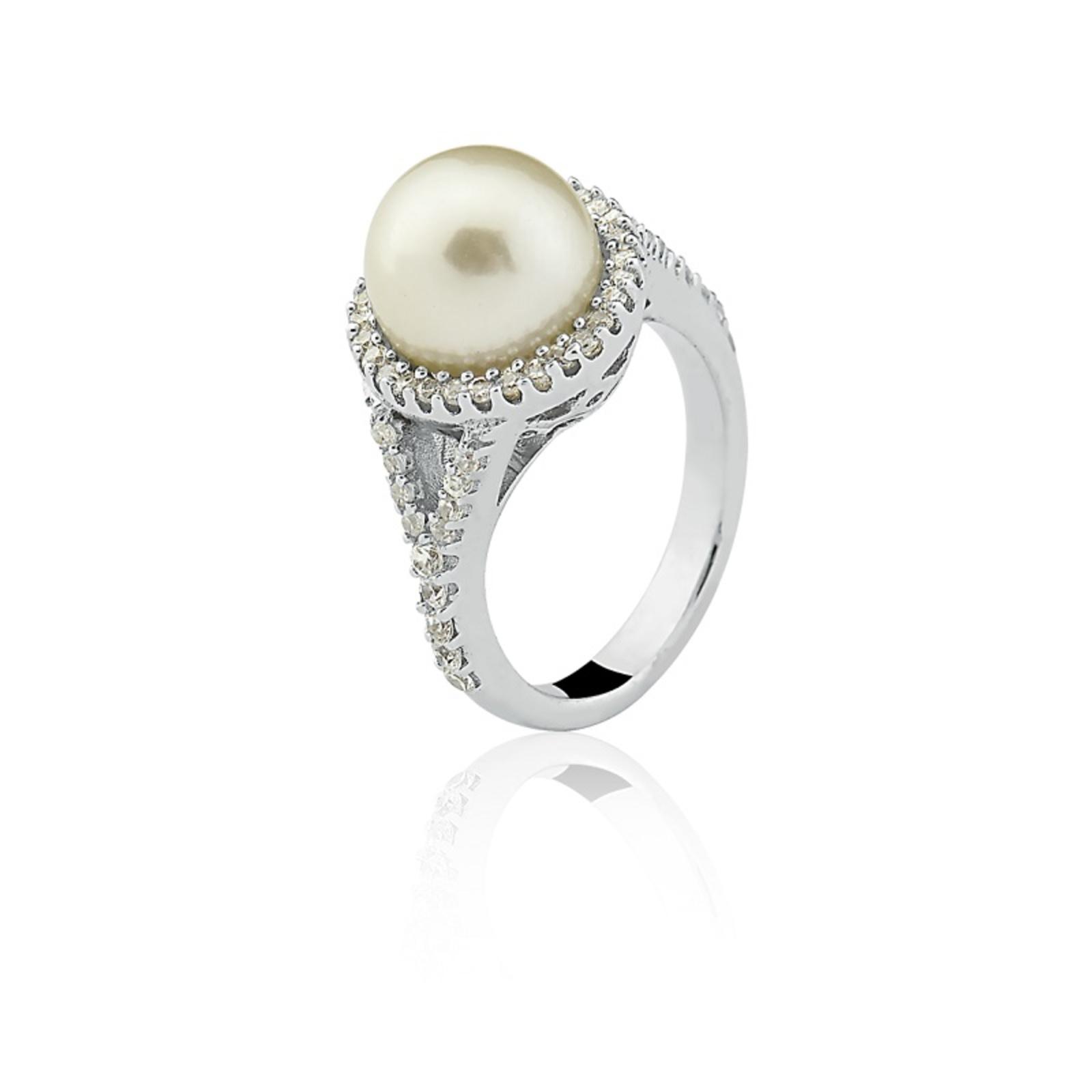 Anel Le Diamond Pérola Ródio Branco