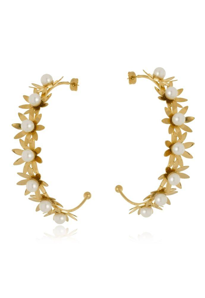 Argola Aberta Le Diamond Flores e Pérolas Dourado