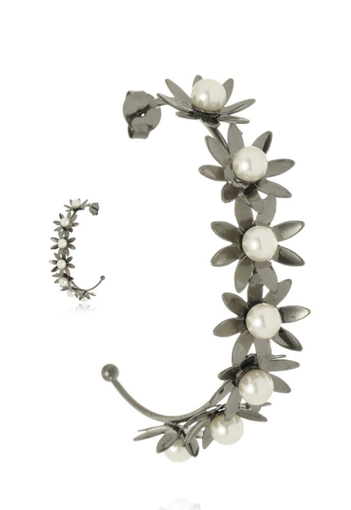 Argola Aberta Le Diamond Flores Ródio Negro
