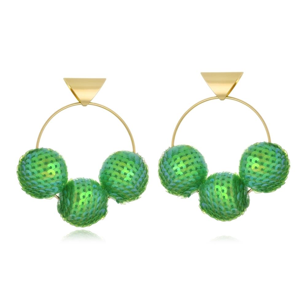 Argola Frontal Le Diamond com Três Bolas Paetês Verde