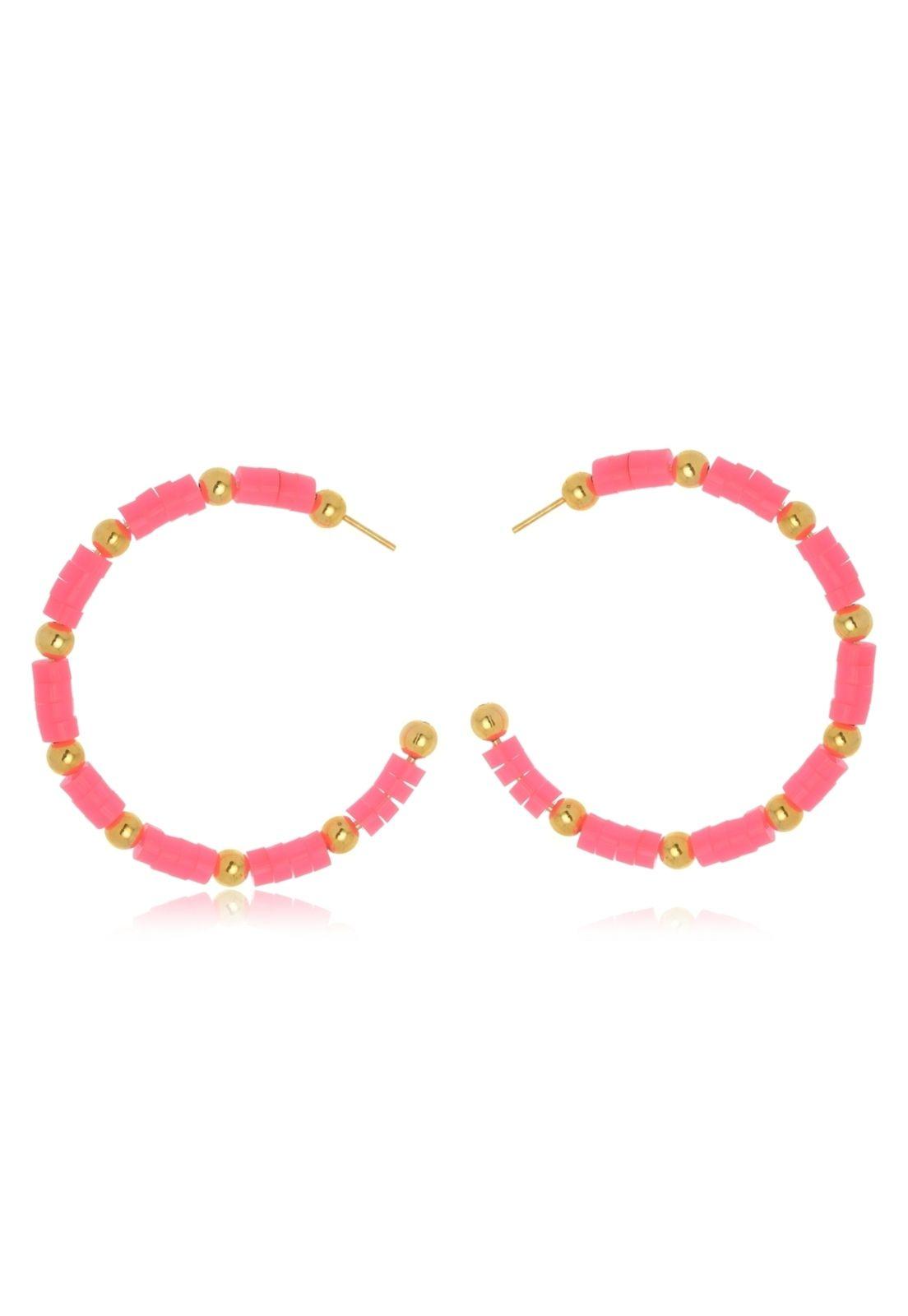 Argola Le Diamond Acrílico Pink