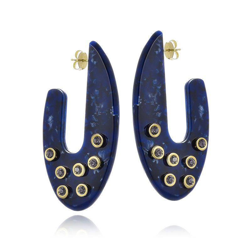 Argola Le Diamond Alana com Tachas Azul