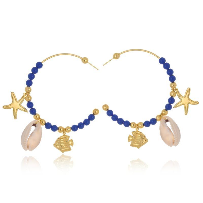 Argola Le Diamond Com Bolas De Resina Azul E Pingentes Mar