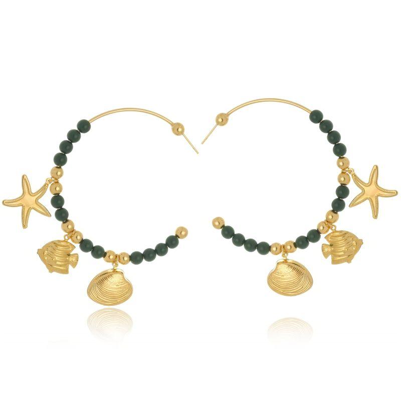 Argola Le Diamond Com Bolas De Resina  Verde e Pingentes Mar
