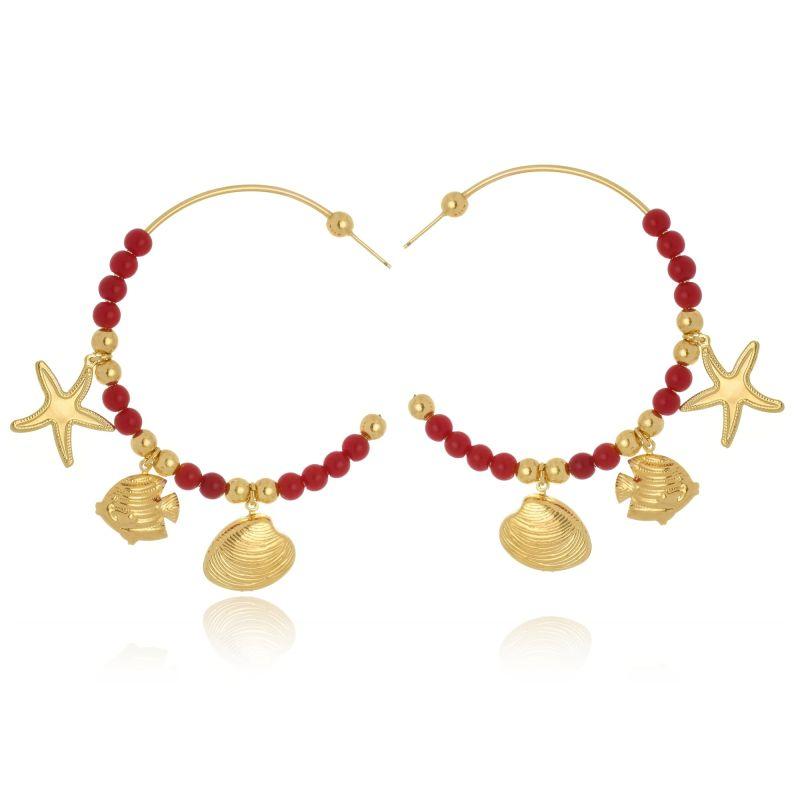 Argola Le Diamond Com Bolas De Resina  Vermelha e Pingentes Mar