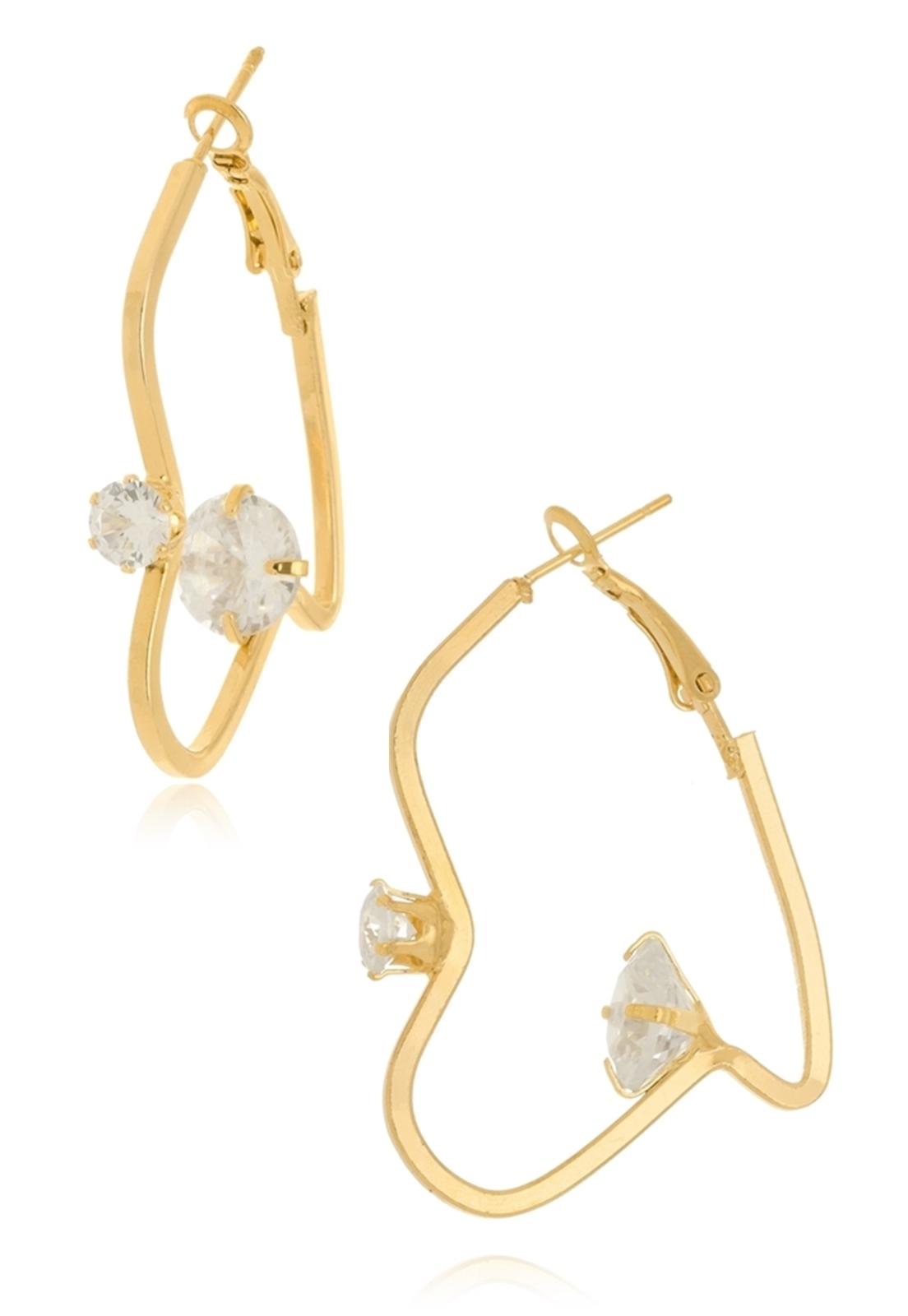Argola Le Diamond com Pontos de Luz Dourado