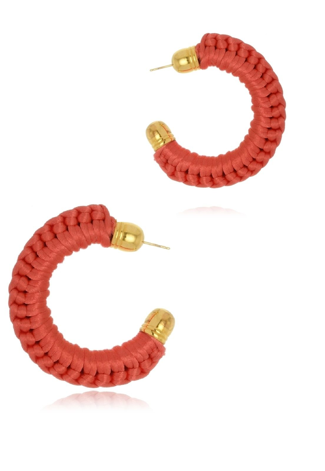 Argola Le Diamond Crochê Vermelha Pequena