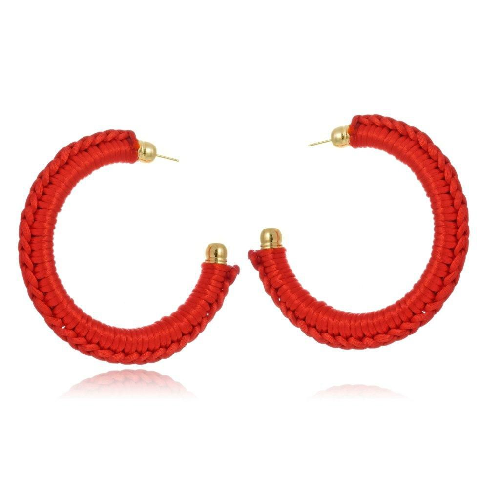 Argola Le Diamond de Crochê Vermelha