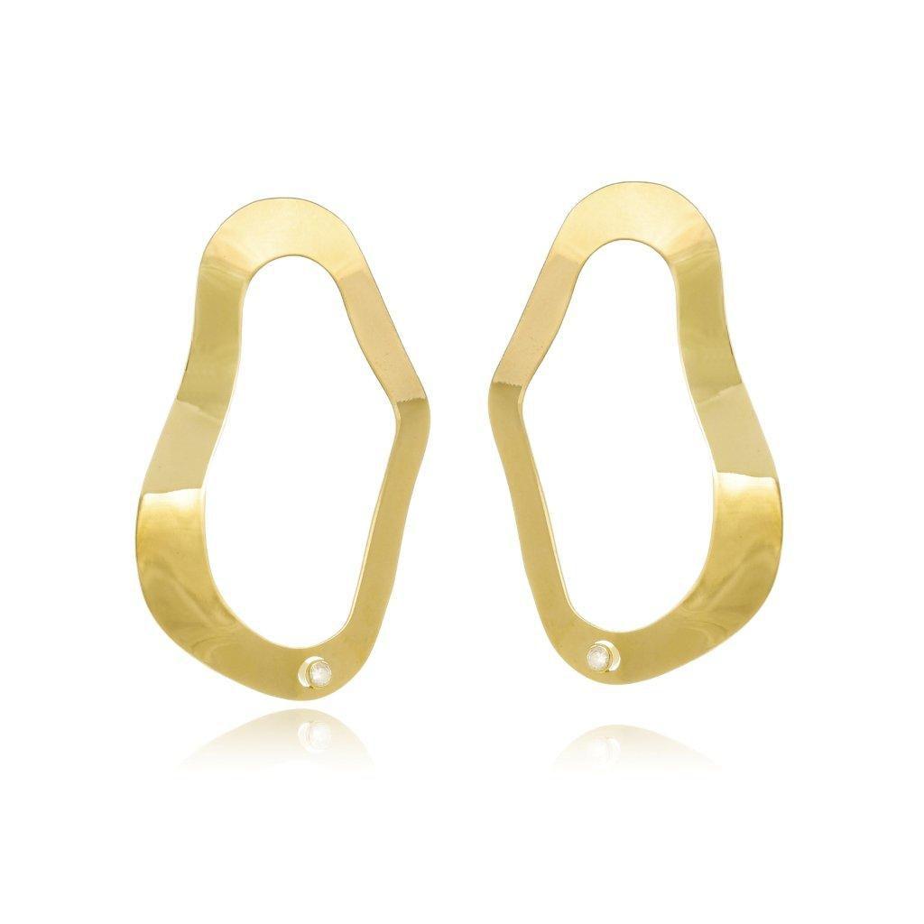 Argola Le Diamond de Metal Folheado Dourado
