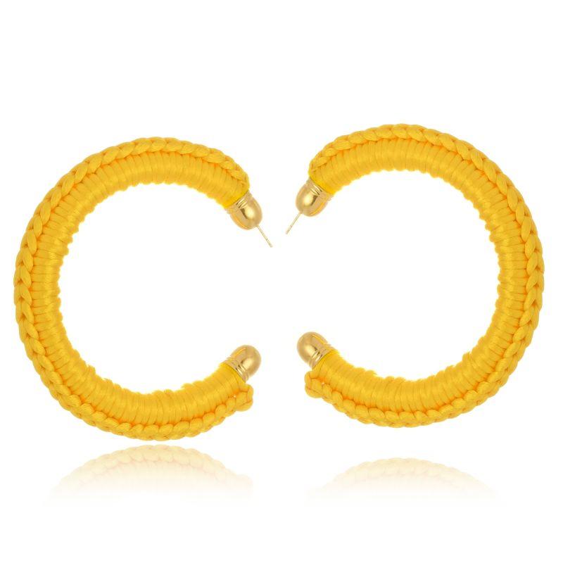 Argola Le Diamond De Tecido Crochê Grande Amarela