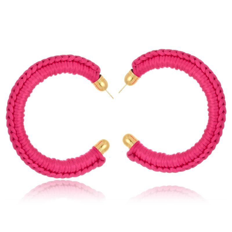 Argola Le Diamond De Tecido Crochê Grande Rosa