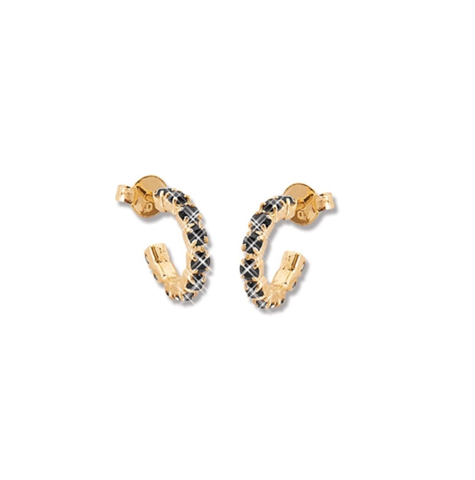 Argola Le Diamond Dourada com Pedras de Strass Preta