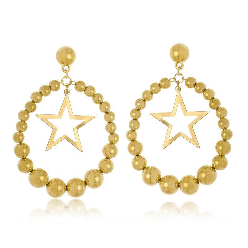 Argola Le Diamond Esferas e Estrela Dourada