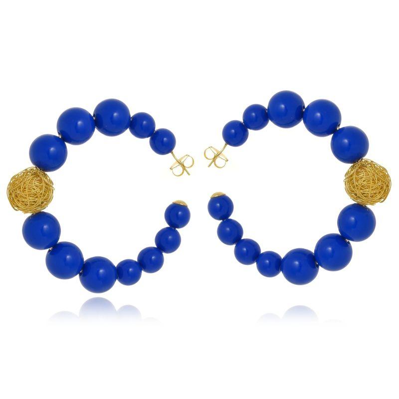 Argola Le Diamond Esferas Resinas Azul Royal