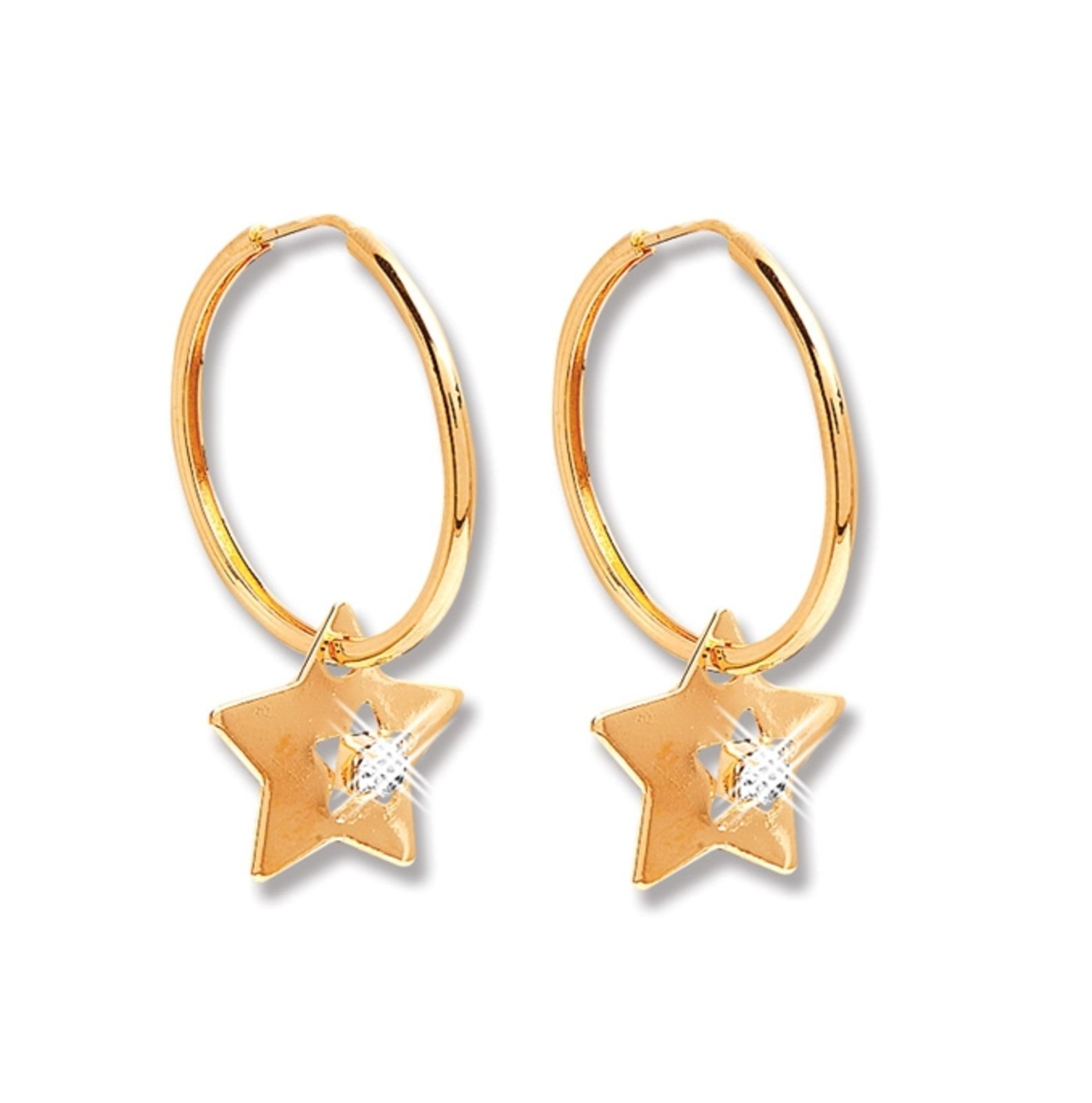 Argola Le Diamond Star Dourada