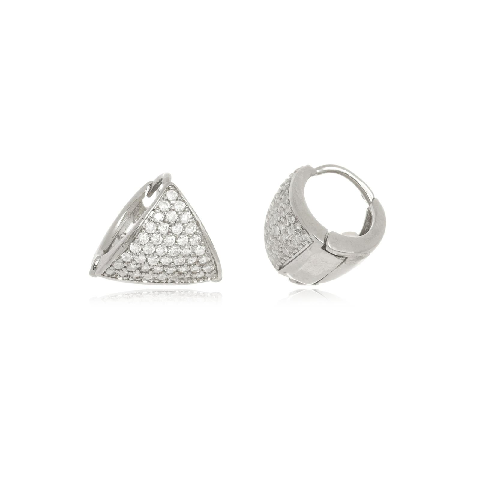 Argola Le Diamond Triangulo com Micro Zircônia