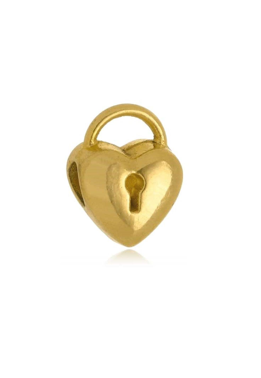 Berloque Le Diamond Charm Coração com Fechadura Dourado