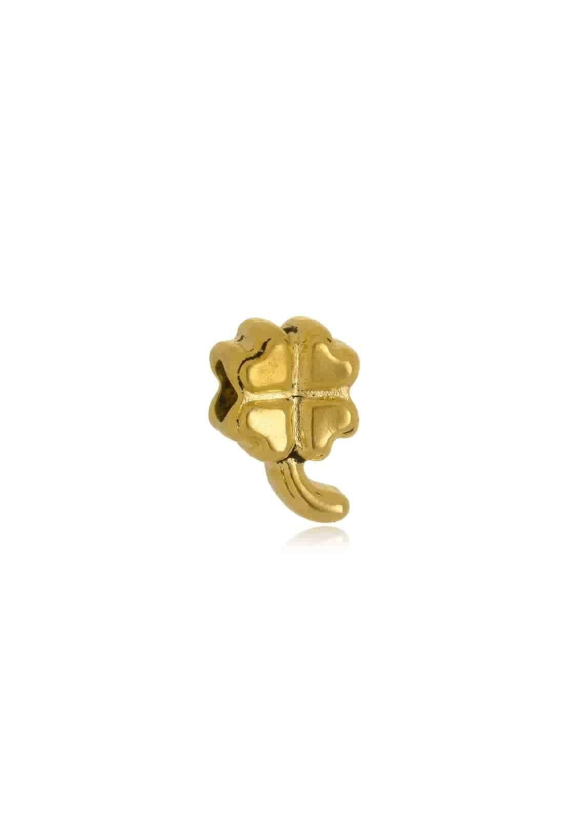 Berloque Le Diamond Charm Trevo de Quatro Folhas Dourado