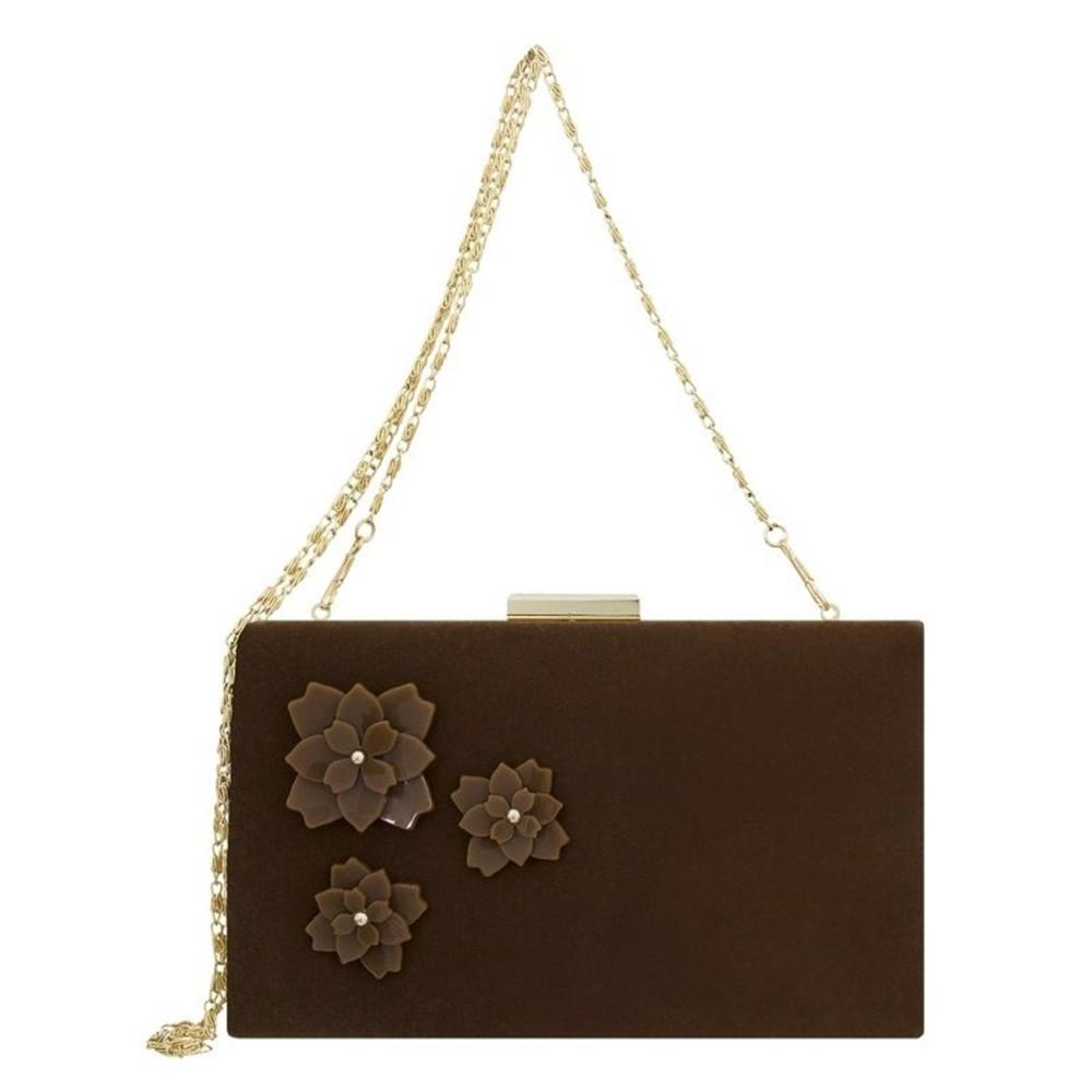 Bolsa Clutch Le Diamond Flores e Veludo Camurça