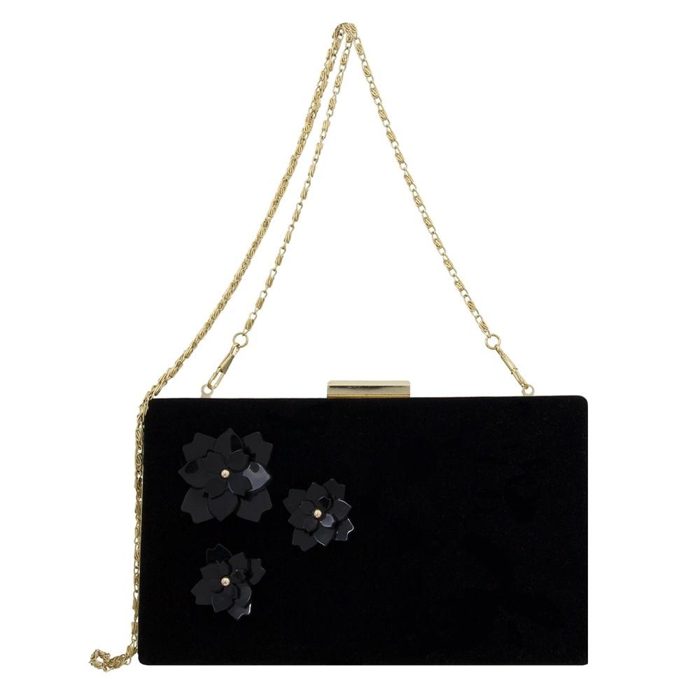 Bolsa Clutch Le Diamond Flores e Veludo Preto