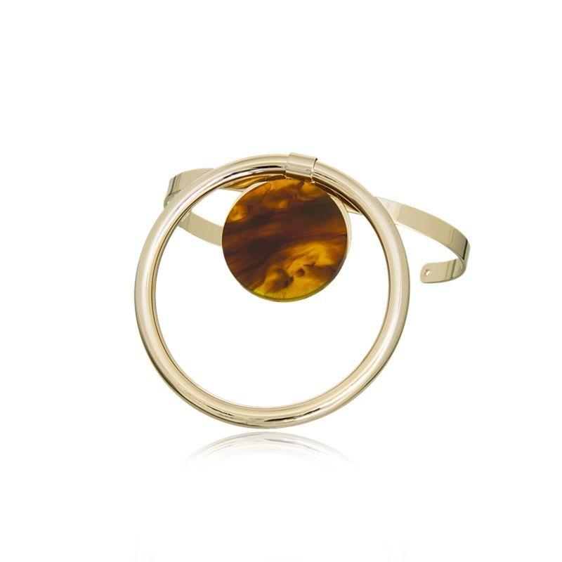 Bracelete Le Diamond Esfera Dourado/Marrom