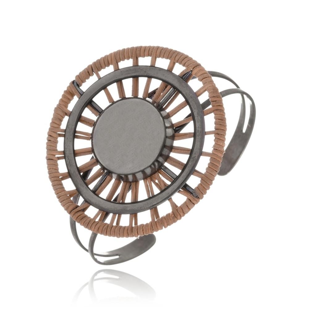 Bracelete Le Diamond Esferas com Couro Marrom