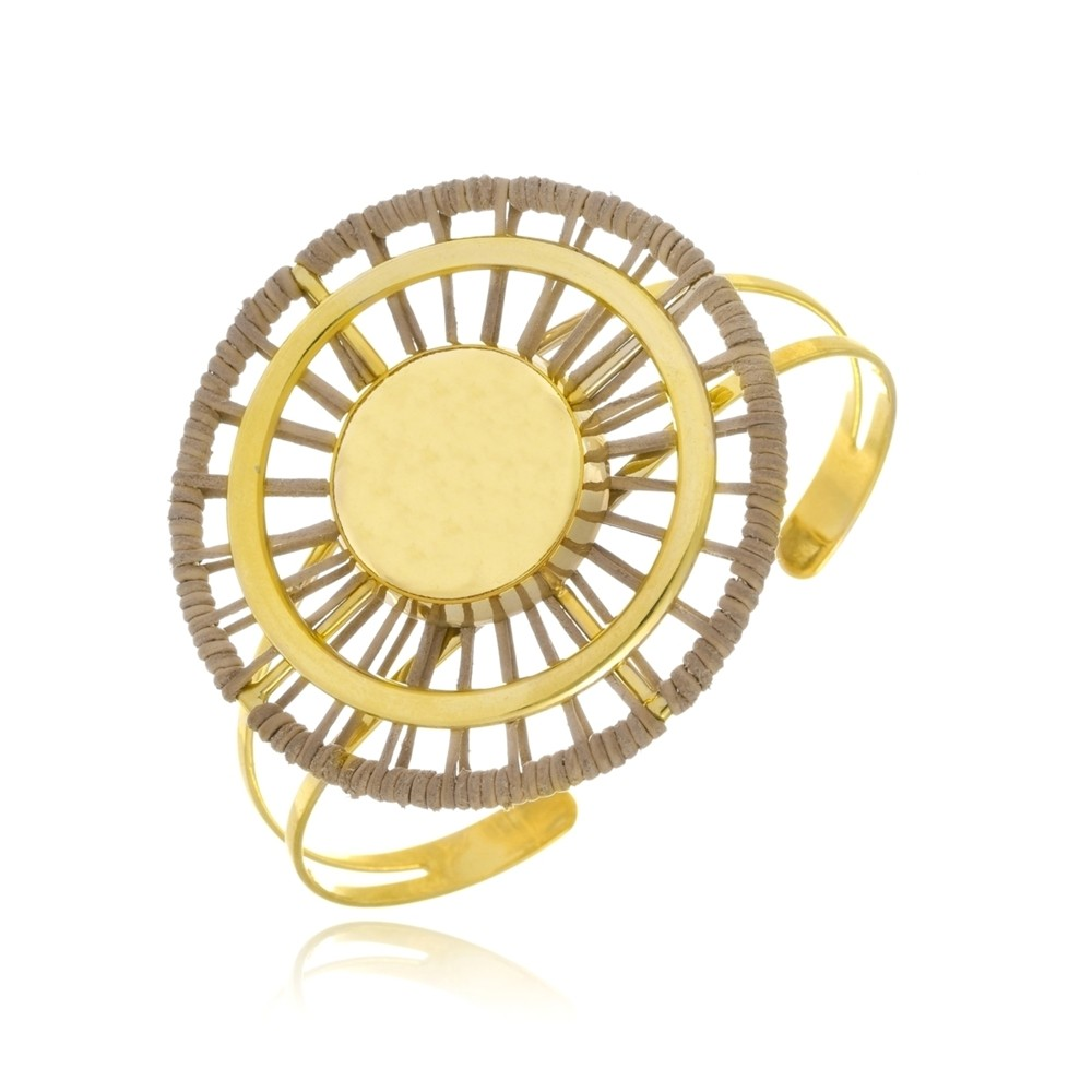 Bracelete Le Diamond Esferas Folheadas com Couro