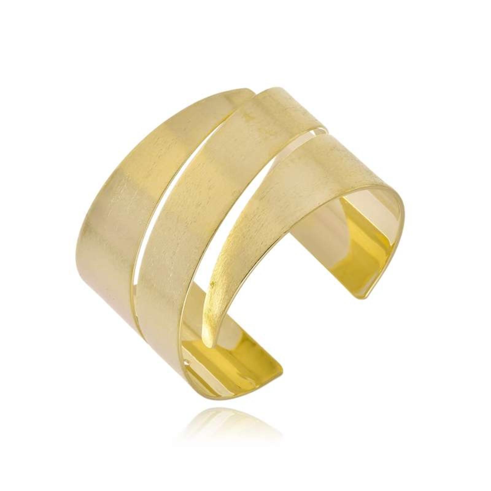 Bracelete Le Diamond Wave Três Cortes Dourado