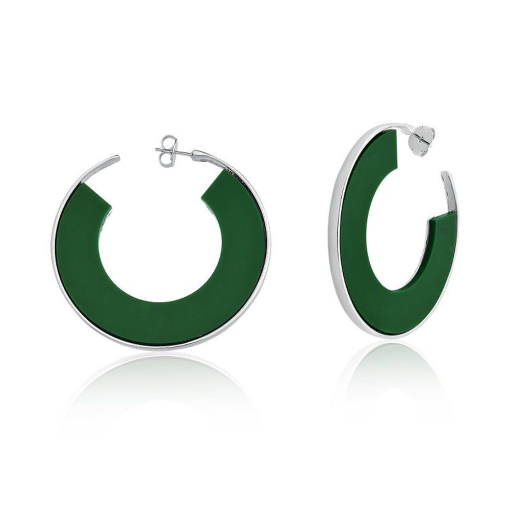 Brinco Argola Le Diamond  Acrilico Verde