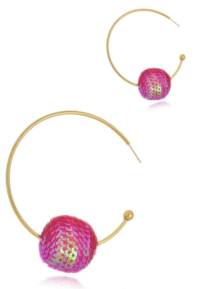 Brinco Argola Le Diamond Bola de Paetê Pink