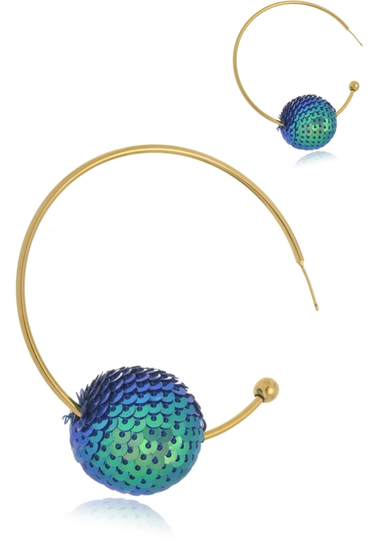 Brinco Argola Le Diamond Bola de Paetê Azul